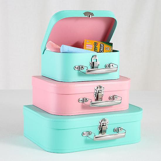 Pastel storage suitcases