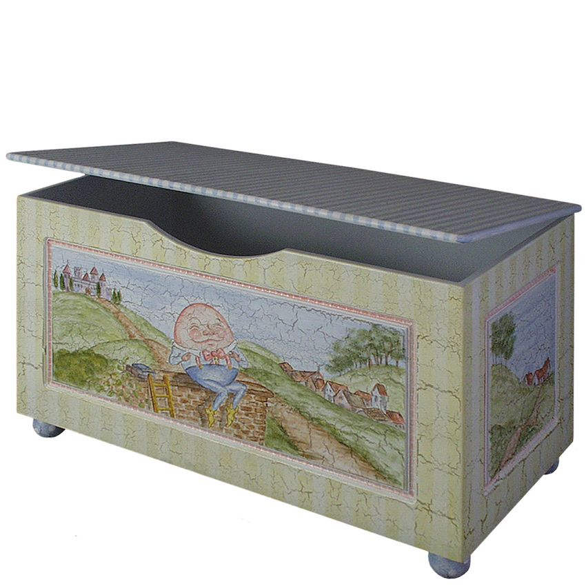 No child's room is complete without a toy chest, and the painted chests by Bograd Kids are whimsical and fun. This one, featuring the nursery rhyme Humpty Dumpty, is cute as well as practical.