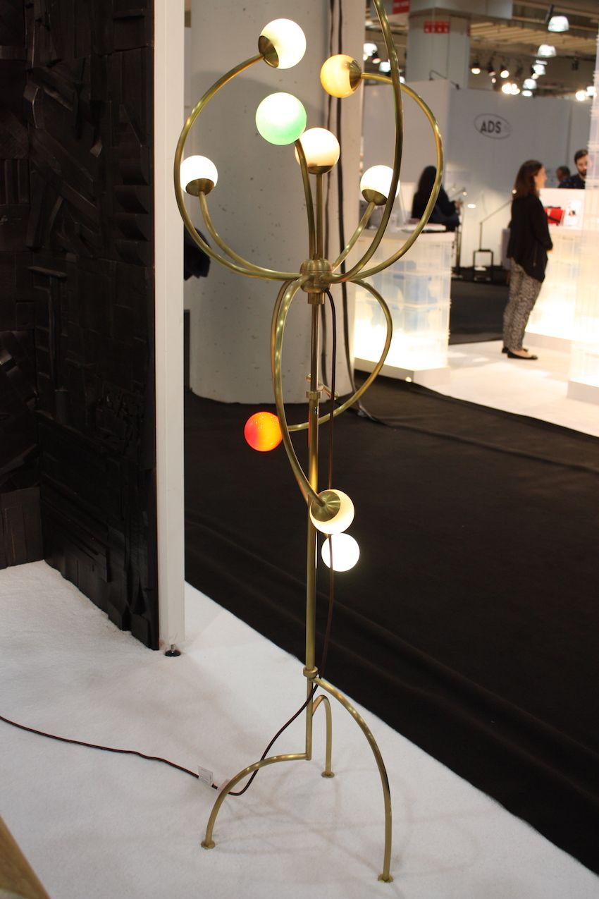 He may be best know for woodworking and furniture, but Peter Glassford displayed this mutliglobe floor lamp at ICFF 2016 and it is gorgeous.