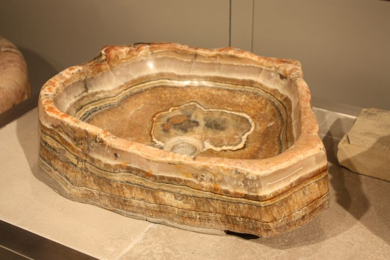 Petrified wood stone wash basin