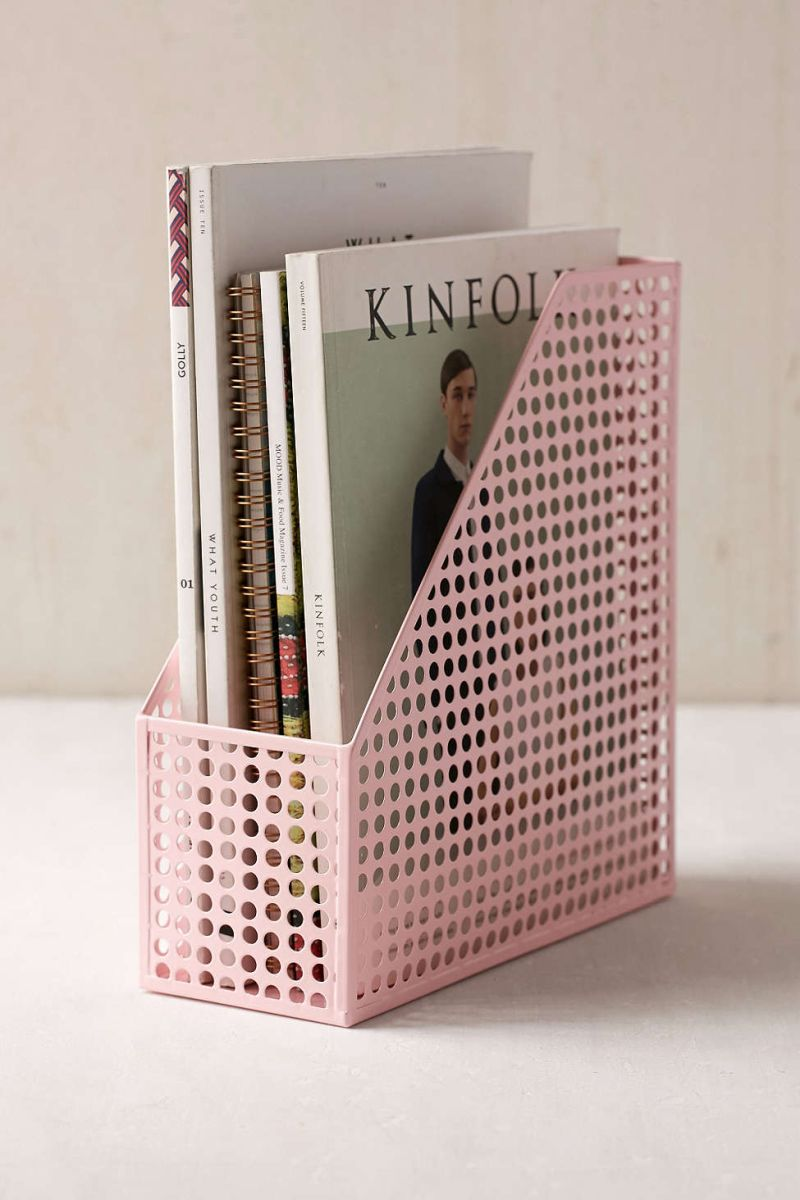 Pink shade magazine storage