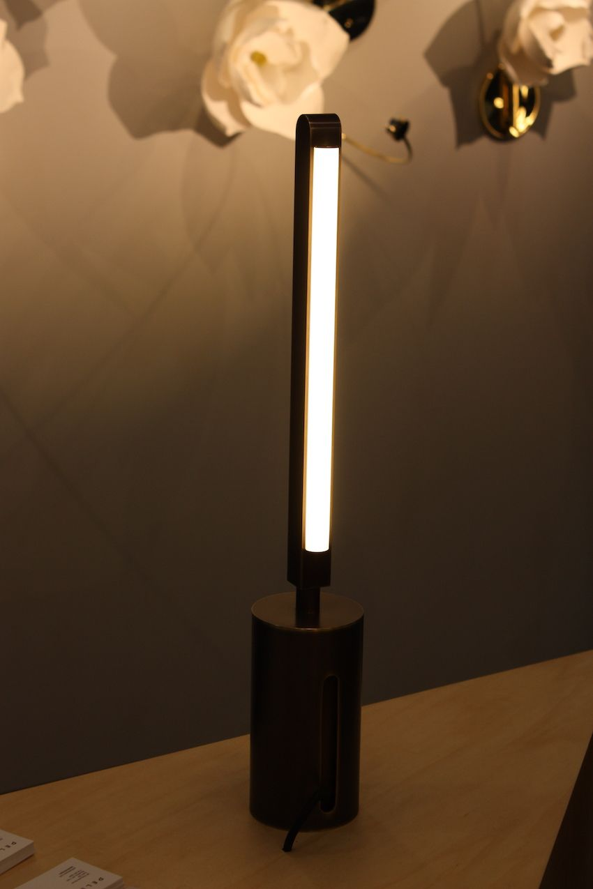 The Pris table lamp by Pelle is part of a modular lighting set that can be constructed as a single stick, as shown.