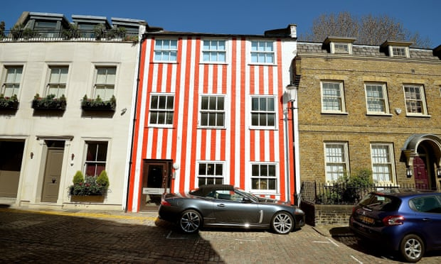 Red and White Stripes bold colors home exterior
