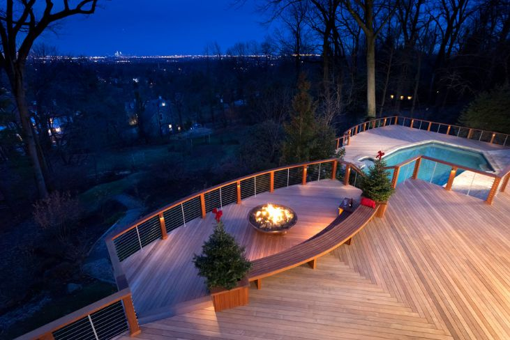A fire pit or a fireplace can also be a source of light, mostly at night
