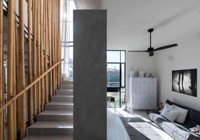Savion Residence staircase bamboo wall