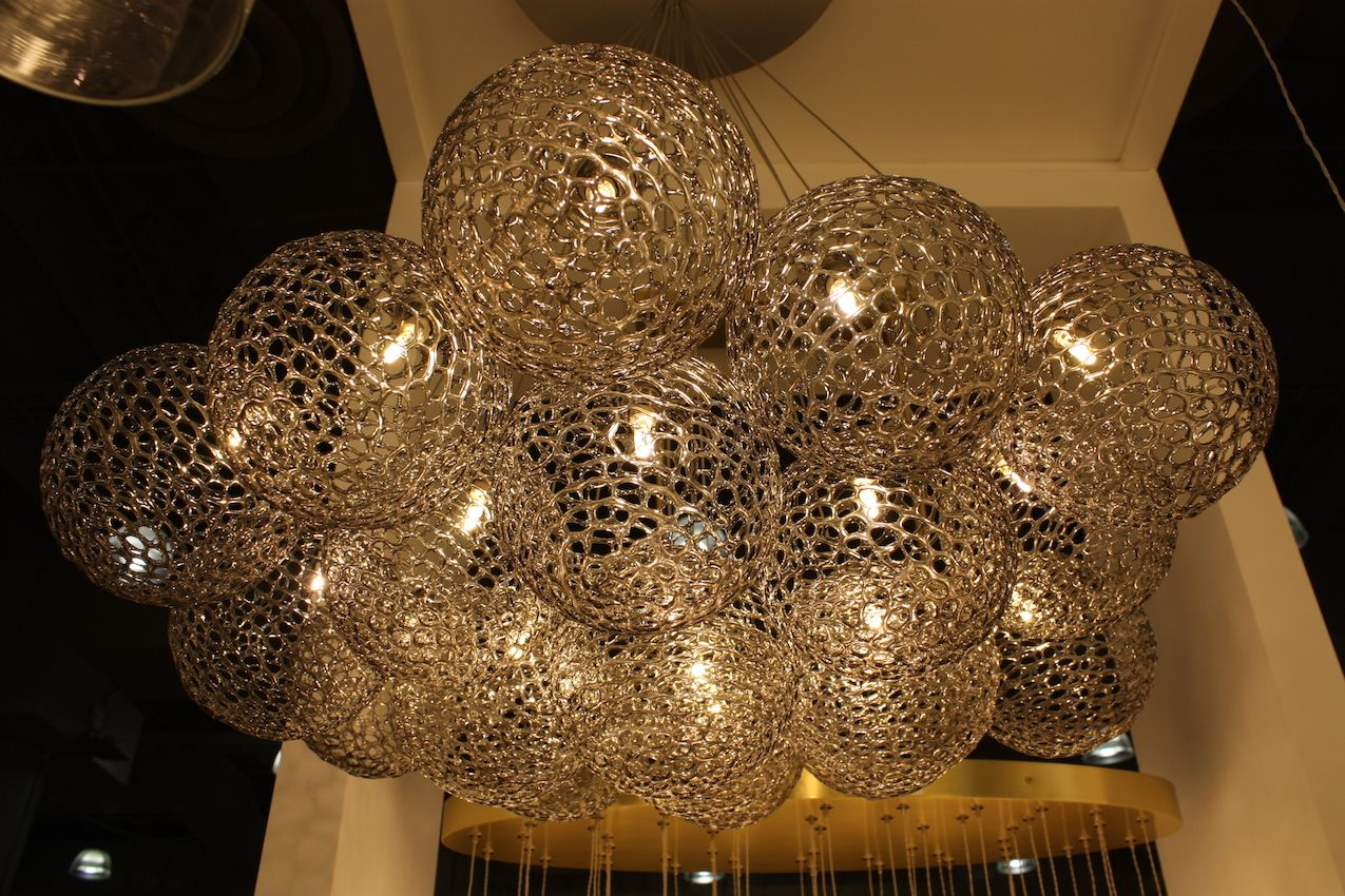 Shakuff perforated glass globe chandelier