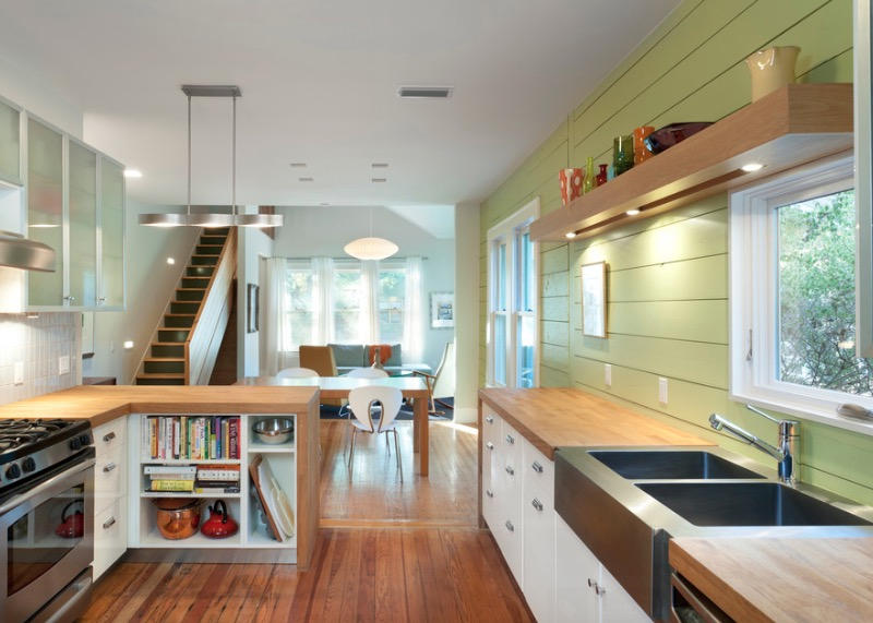 Small and narrow kitchen design with wood floor