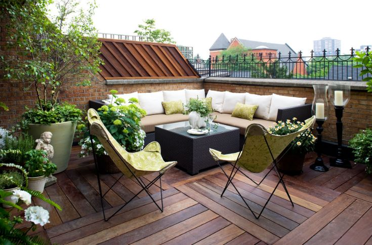 This strategy is great for rooftop decks which are not directly connected to a garden