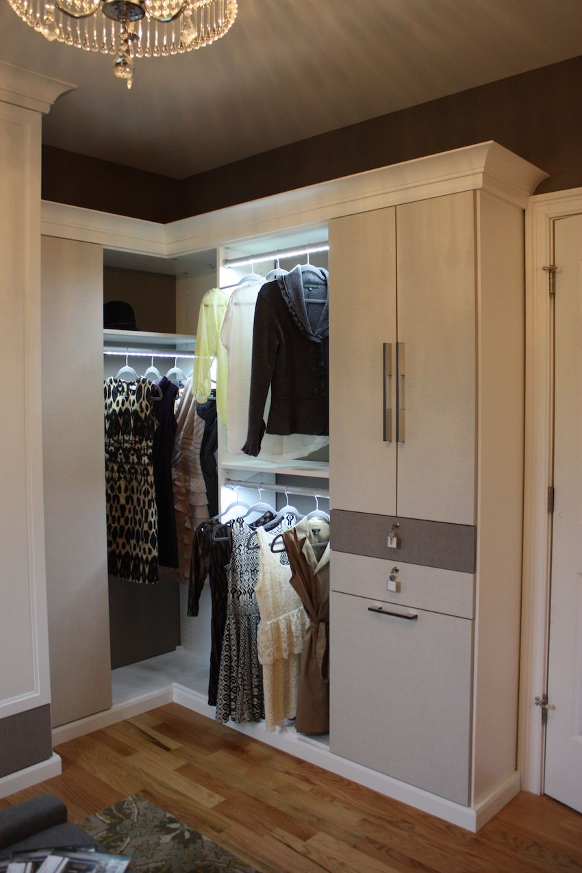 A stately master bedroom needs an equally special walk-in closet area. More than just a place to store clothing and shoes, this closet is a quiet retreat that is well-organized and beautiful. Melissa Hatch of California Closets designed this functional and fabulous space.