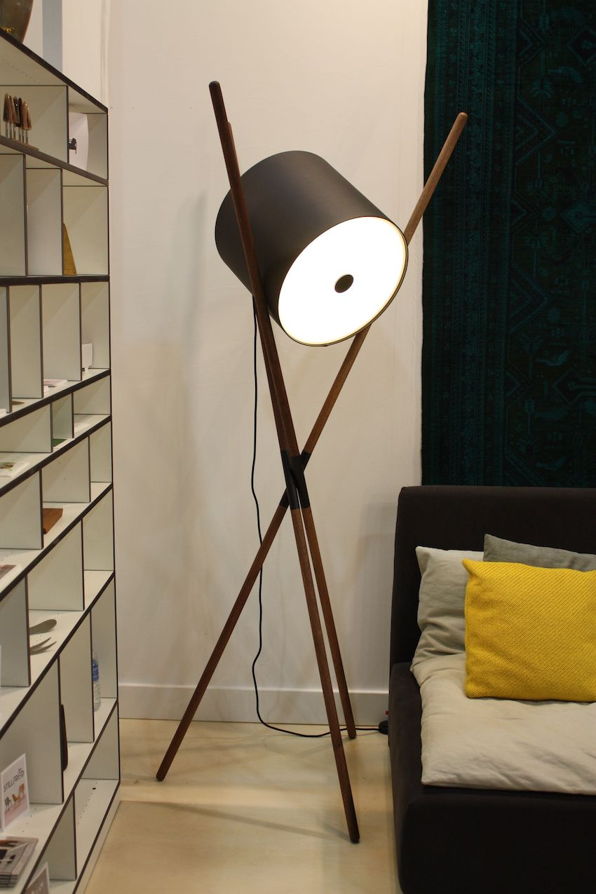 The drum shade on this lamp from Stillfried looks like it has been captured between the three individual sticks that make up its base. It reminds is of using chopsticks to pick up sushi.