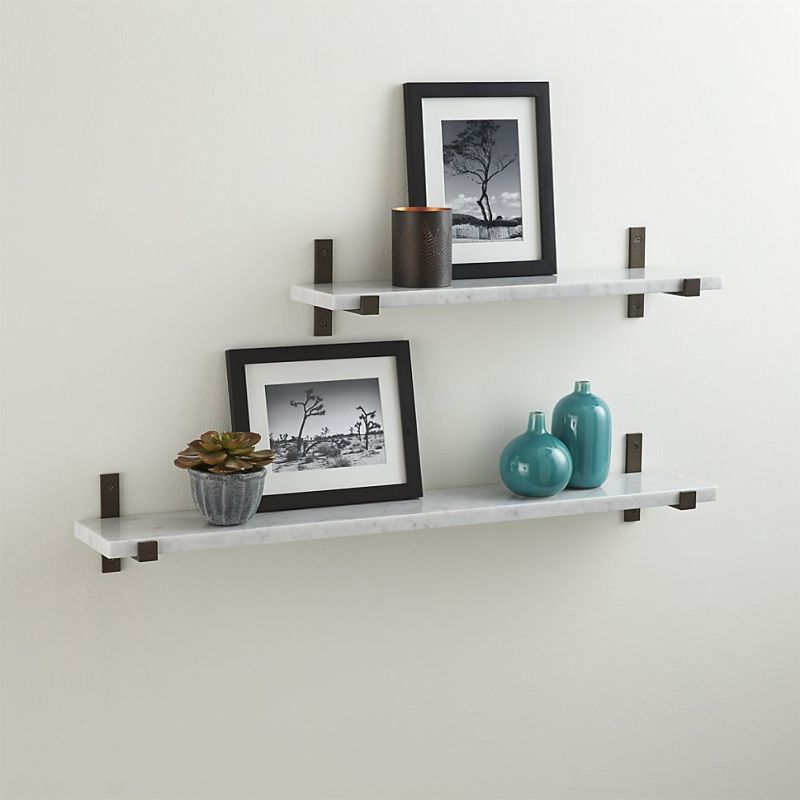 Styles White Marble Shelf with Bronze Brackets
