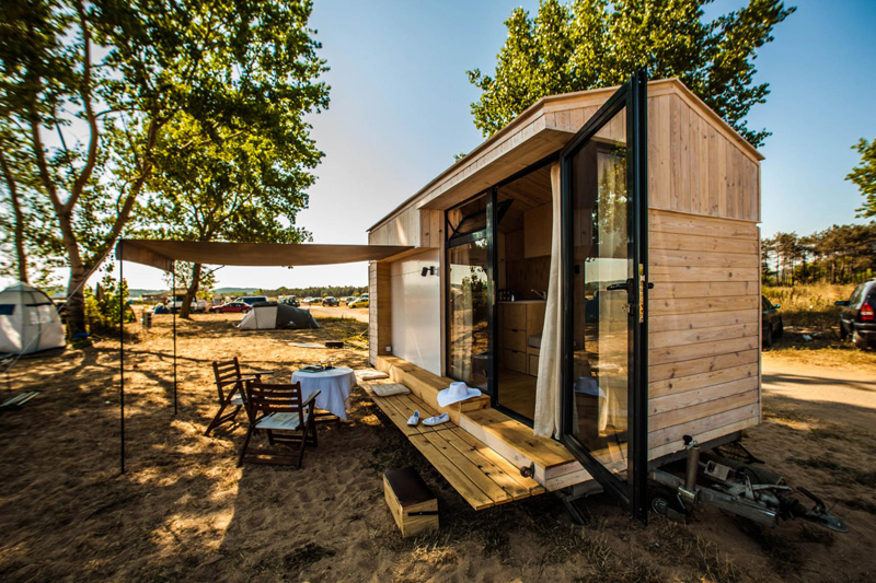 Tiny vacation home on wheels view