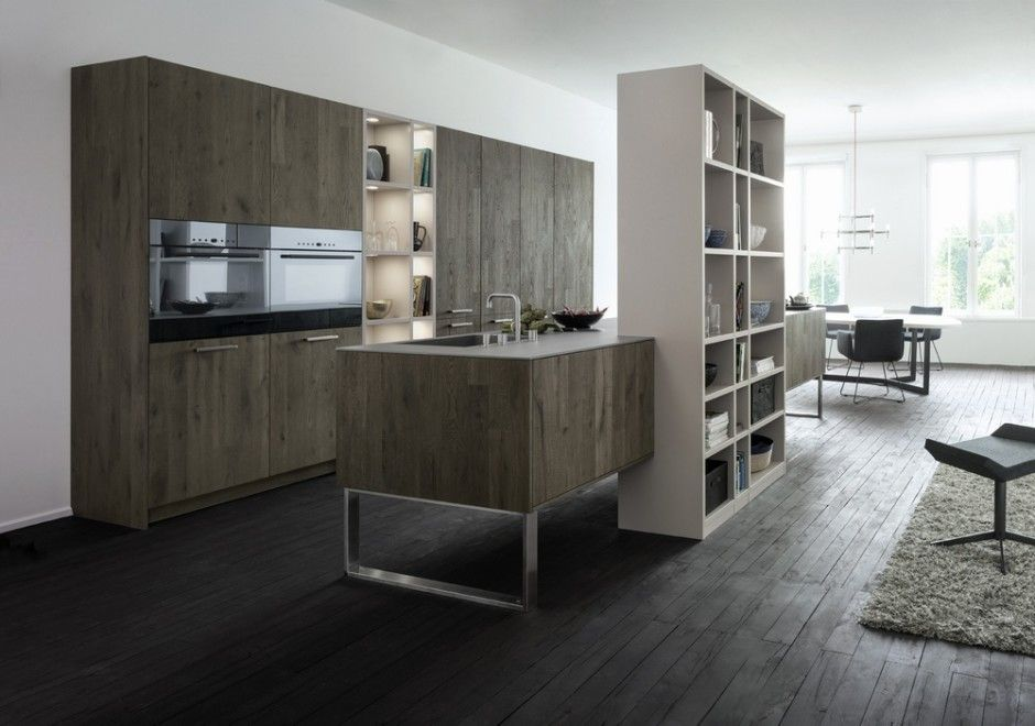 Trendy Grey Accents Open Space Kitchen View In Gallery Check Out This Dark Gray Wood Laminate Floors