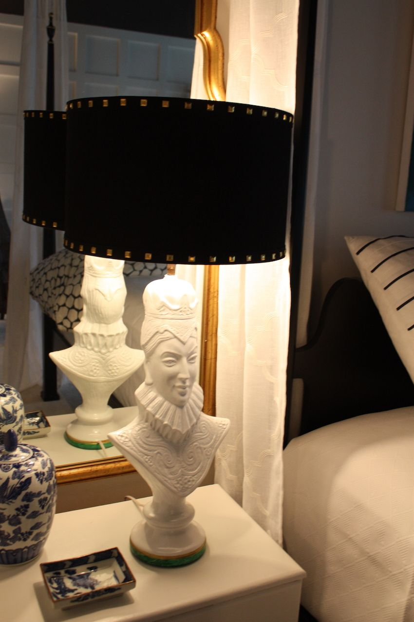 The whimsical lamps they chose for the bedroom play on the theme of royalty.