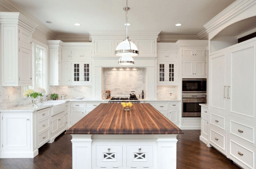Wood Kitchen Island Countertop And Floor