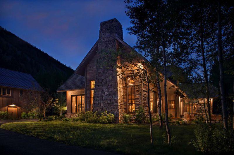 Woodland chalet in Idaho stone exterior