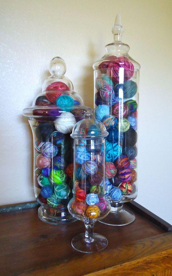 Yarn apothecary jar storage