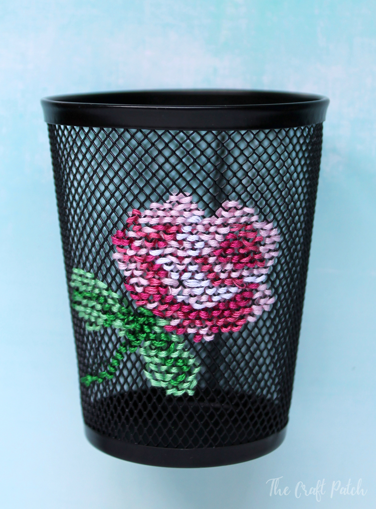 cross stitch pencil cup