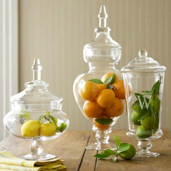 keep the fruits inside apothecary jars