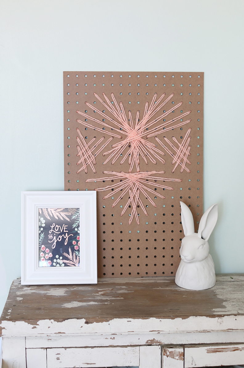 modern pegboard cross stitched heart