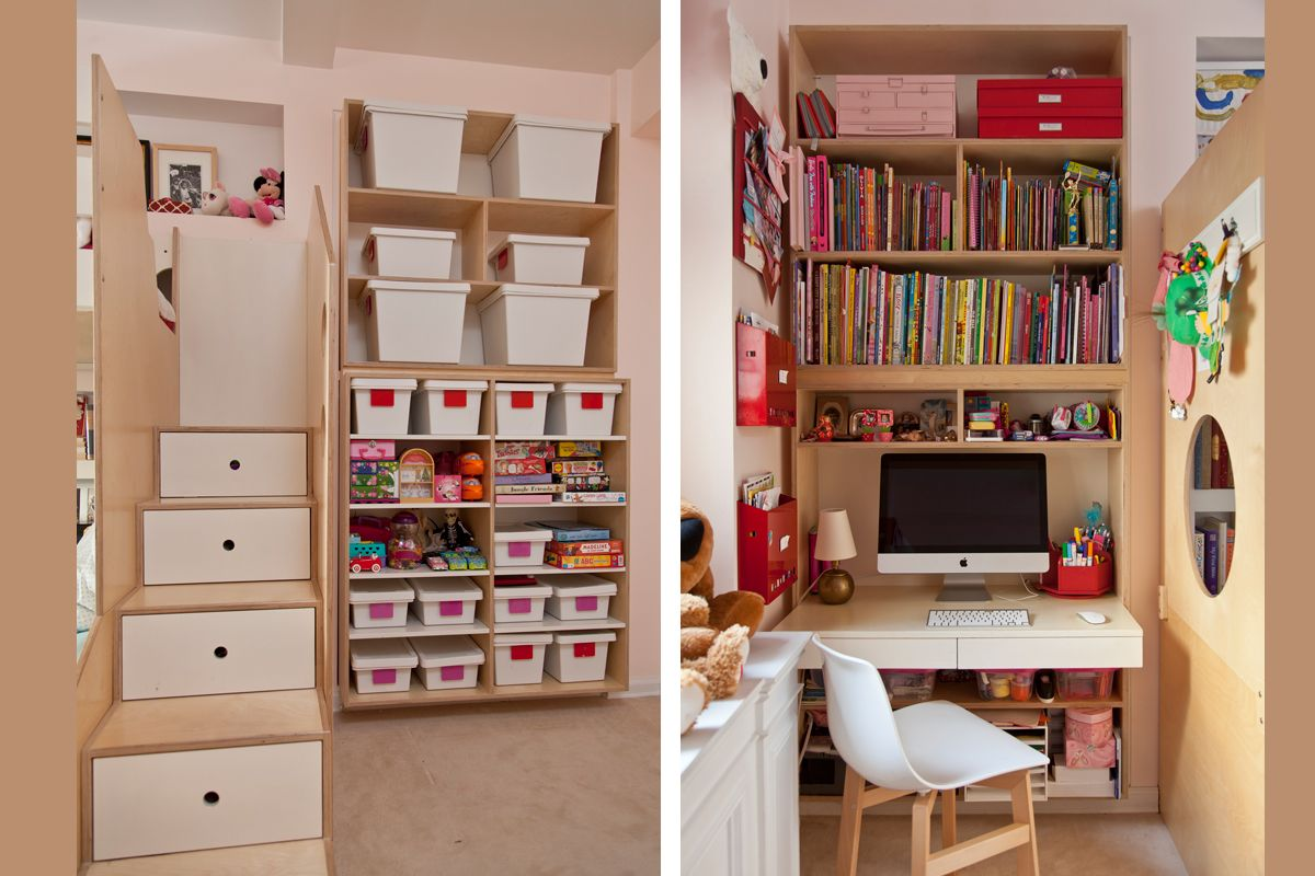 Every nook and cranny is an opportunity to add storage, as this design demonstrates. No space is wasted.