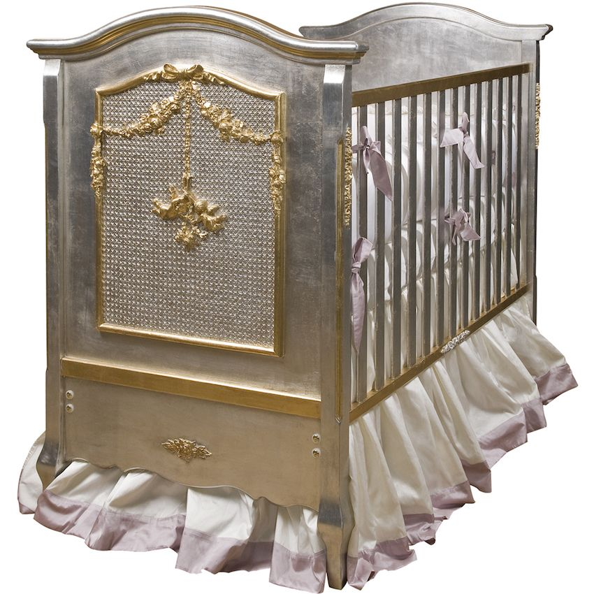 Forget the silver spoon, how about this glimmering gilded crib for your new addition to the family? The Cherubini Crib is silver with gold gilding.