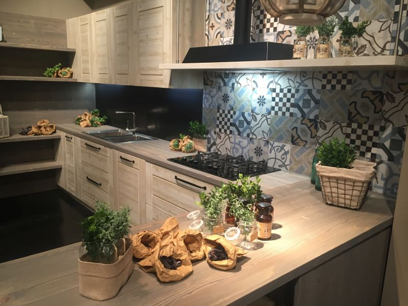 Add a touch of color with patchwork tiles for backsplash
