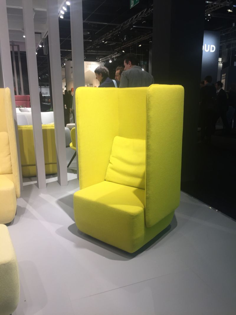 Add privacy with a tall chartreuse chair