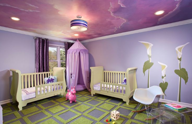 Artistic kids room with a levender color