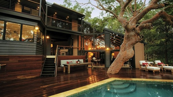 Australia house with a deck patio and tree through it