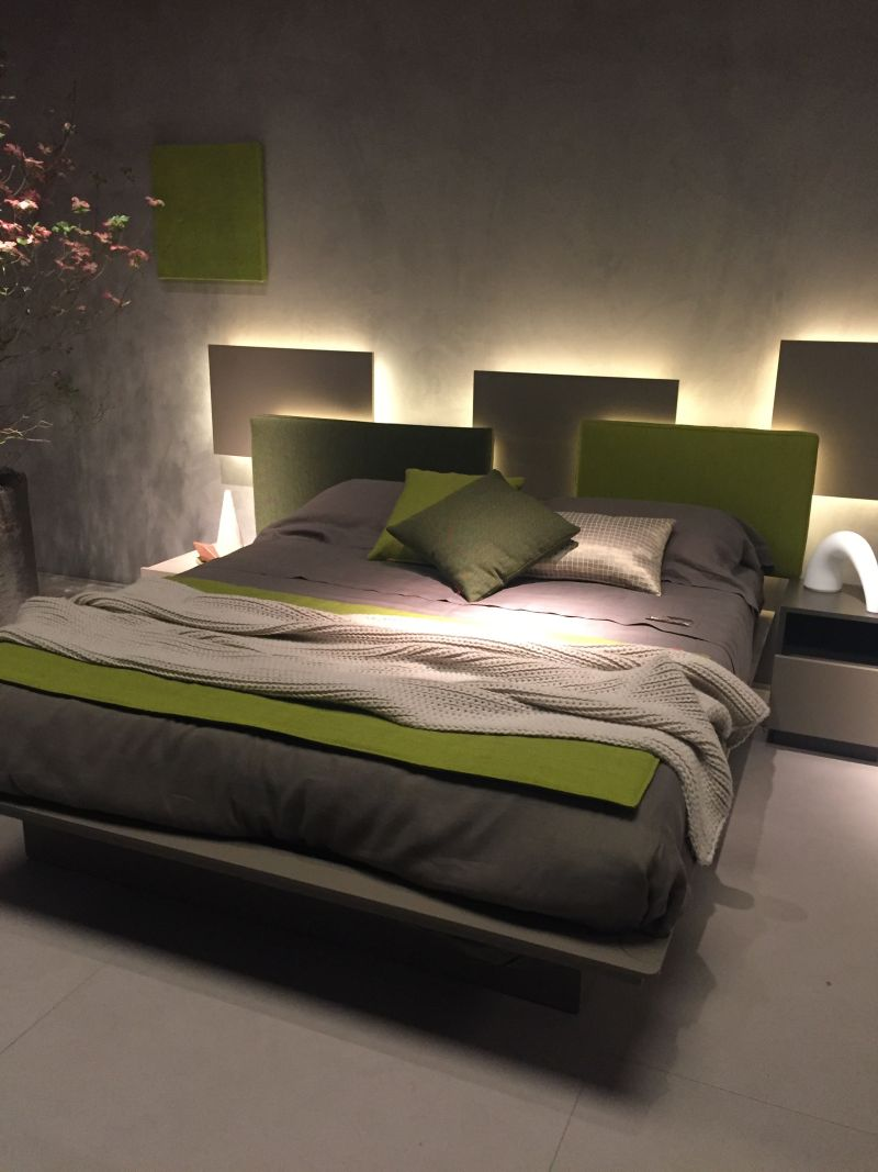Bedroom headboard with LED strip lights behind