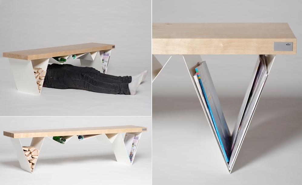 Bench with log and magazine storage