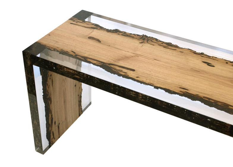 Bent bench bricola wood design