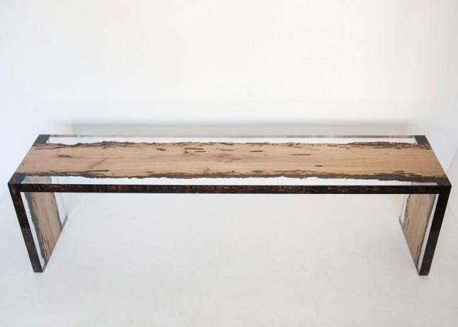 Bent bench bricola wood top