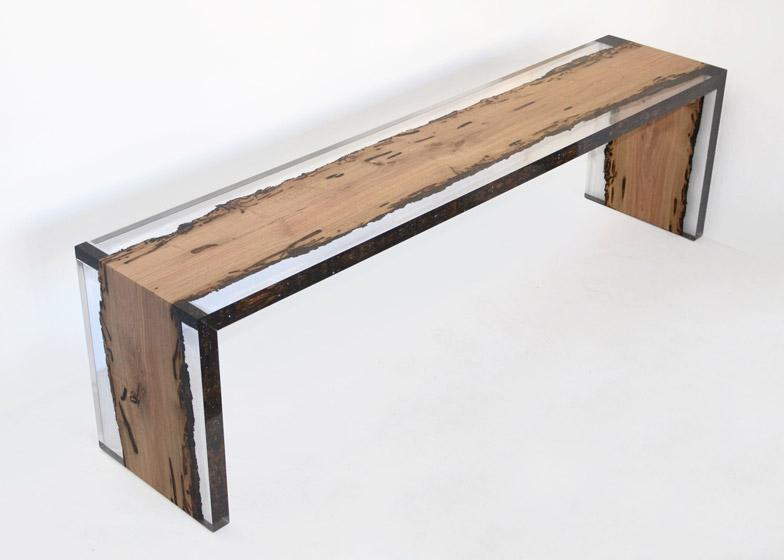 Bent bench bricola wood