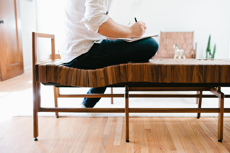 Block wood bench curves fit your body seat