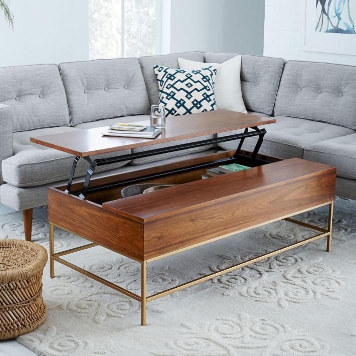 Brass Storage Coffee Table   Walnut