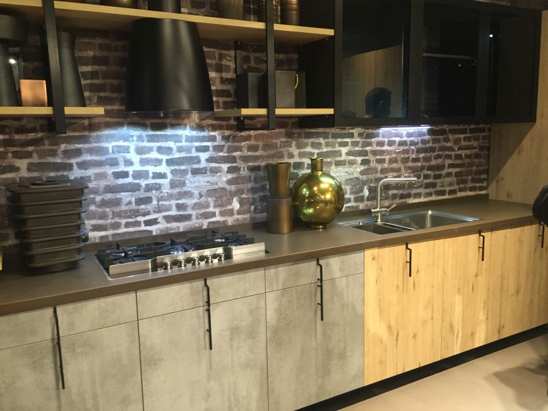 Brick walls for kitchen with led under cabinet lighting