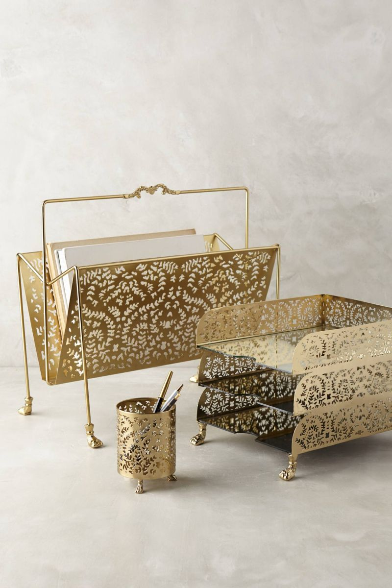 A Touch Of Glamor At The Workplace Gold Desk Accessories