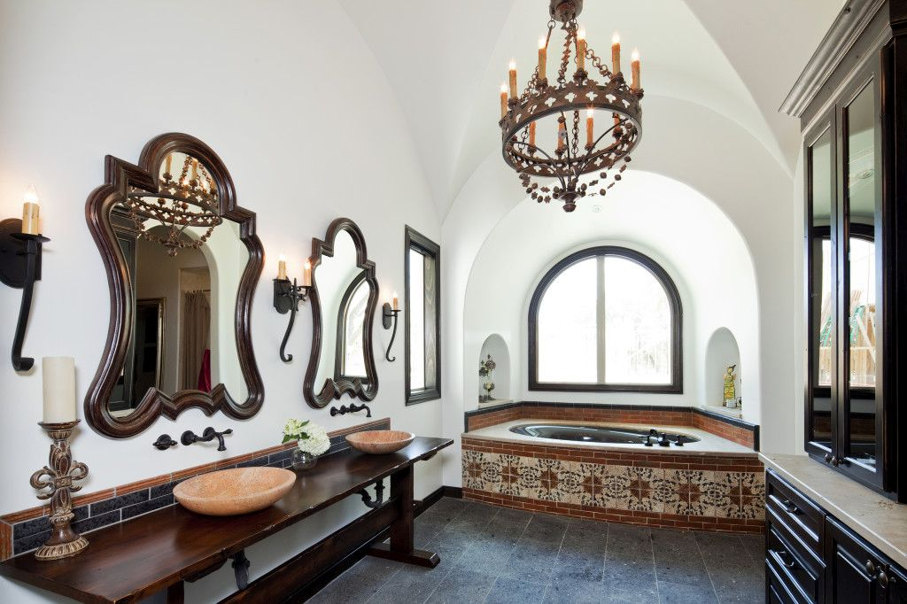 Chandelier and amazing mirrors for bathroom