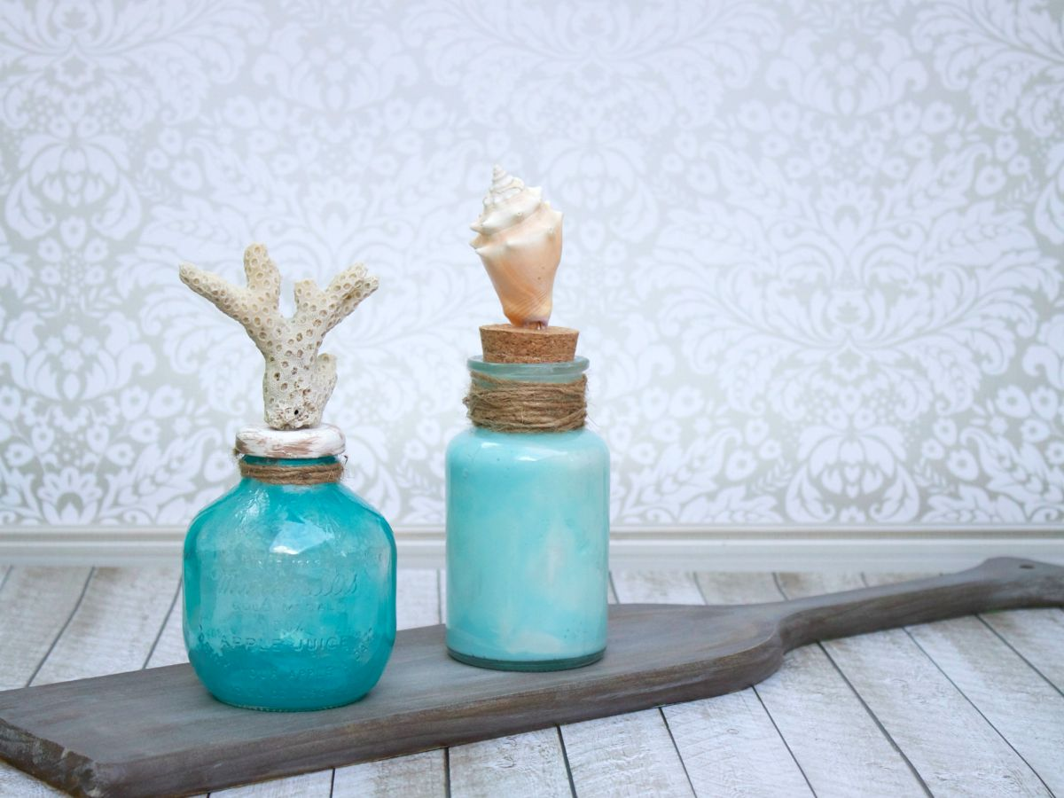Coastal Themed Glass Bottle Decor Display