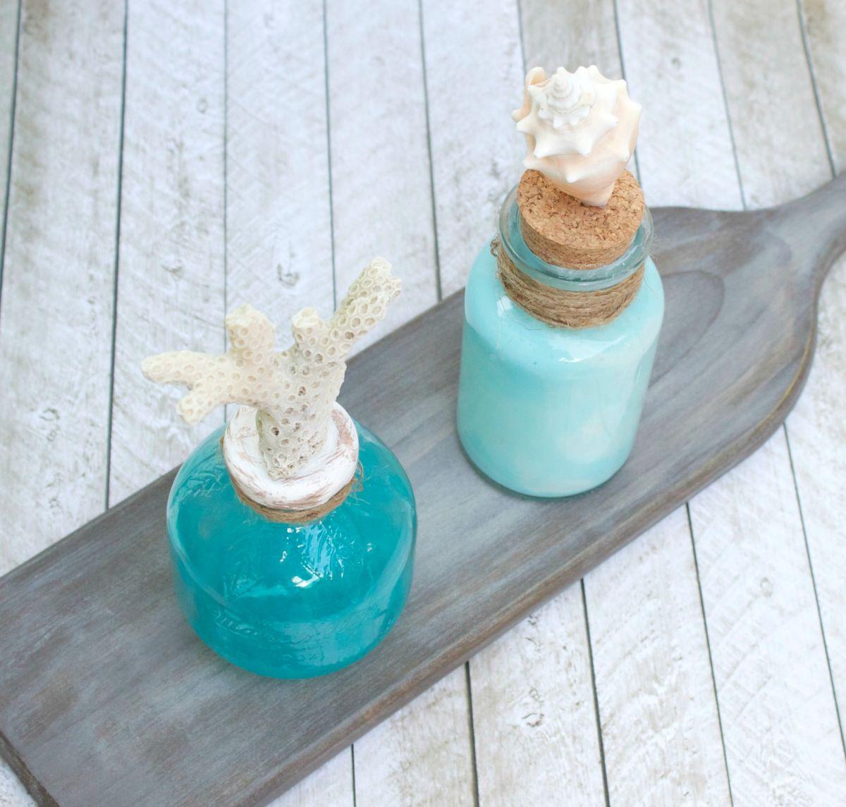 Coastal Themed Glass Bottle