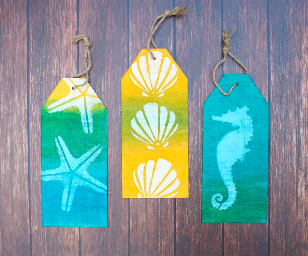 Coastal Themed Wood Tag Display