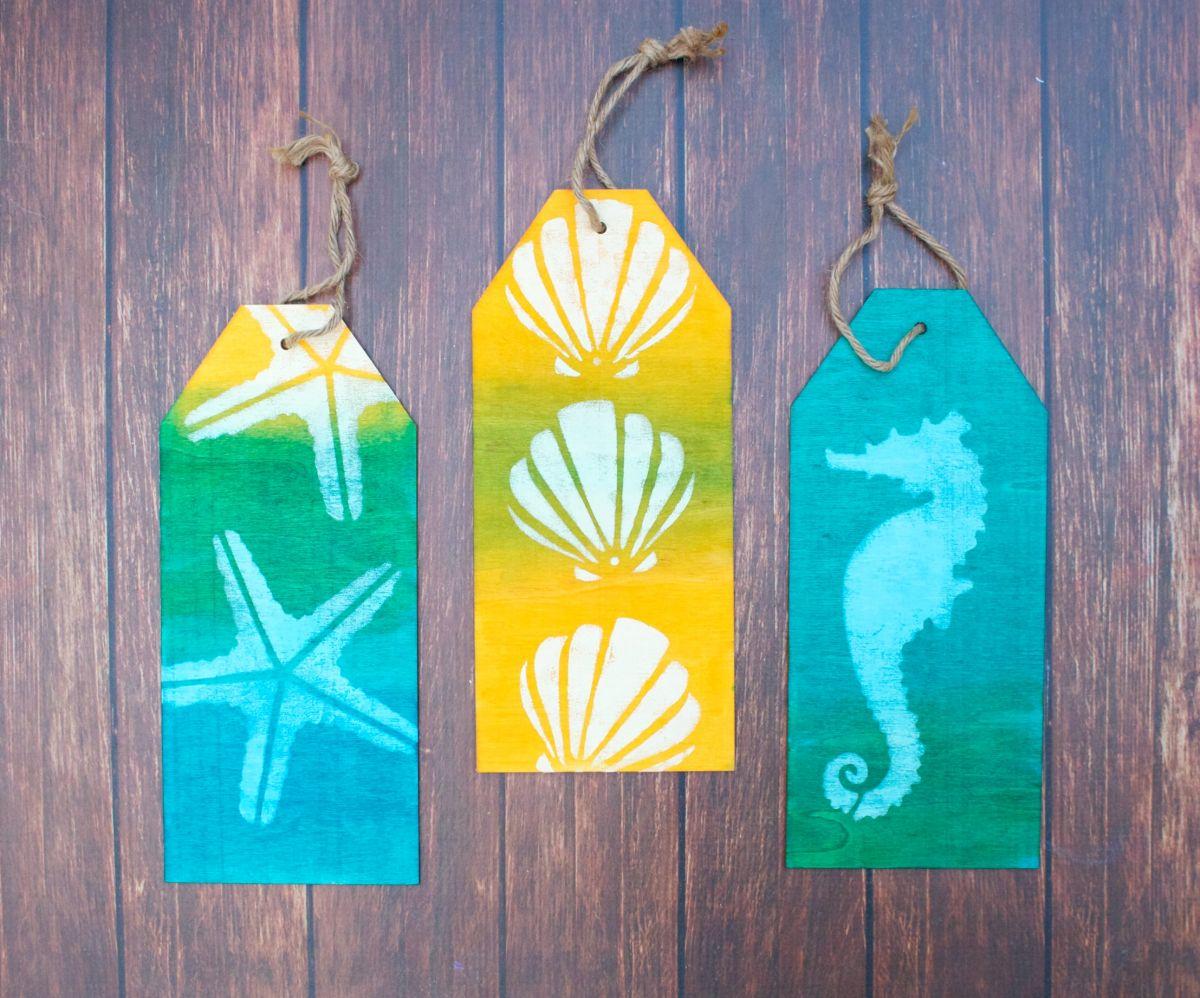 Coastal Themed Wood Tag Display