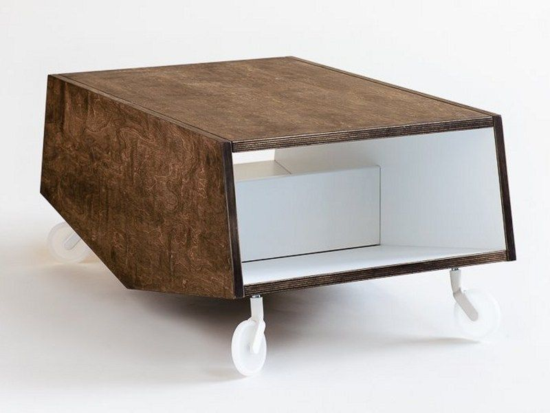 Coffee table with casters and storage space