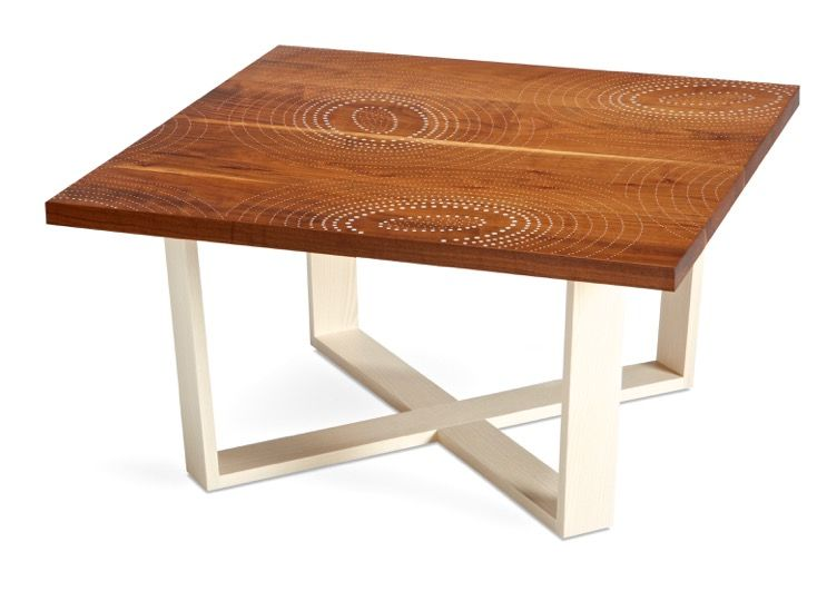 Coffee table made of bleached walnut with aluminum nail inlay and a bleached ash base.