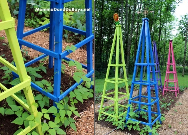Colorful garden trellis
