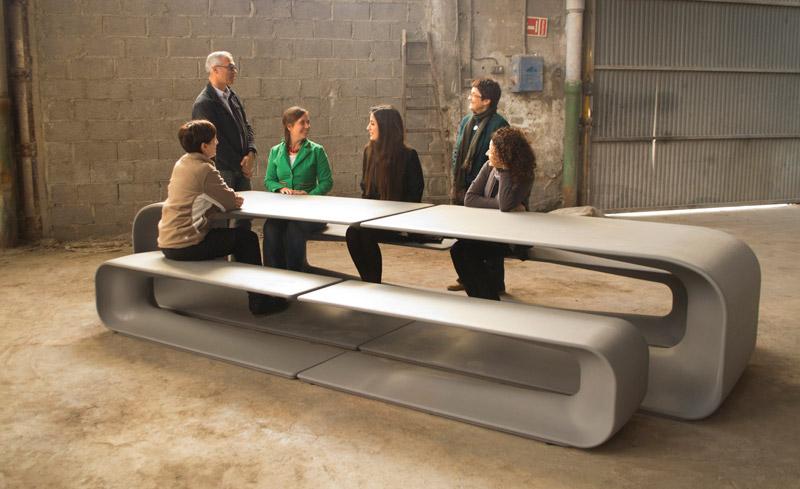 Concrete Table And Bench For Escofet decor