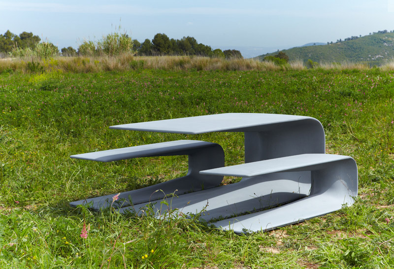 Concrete Table And Bench For Escofet design