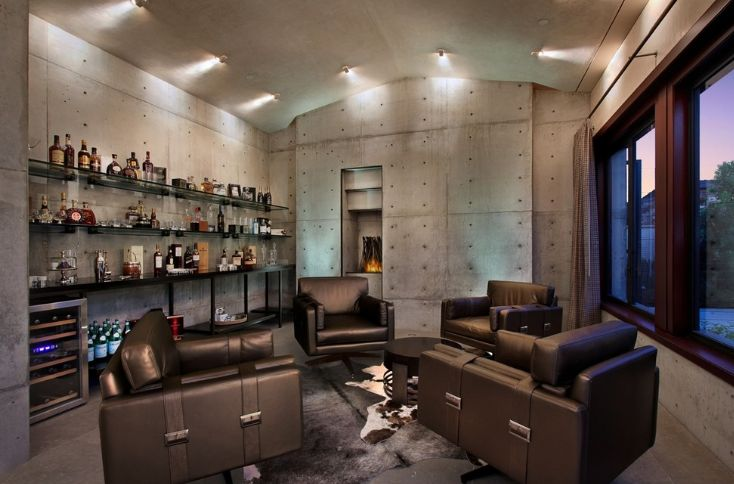 Concrete style man cave living room